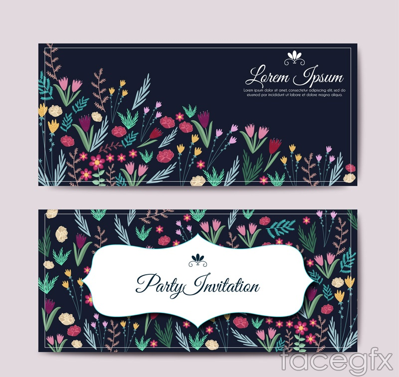 Color flower party invitations cards vector illustration