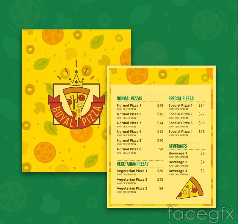 Creative pizza menu vector