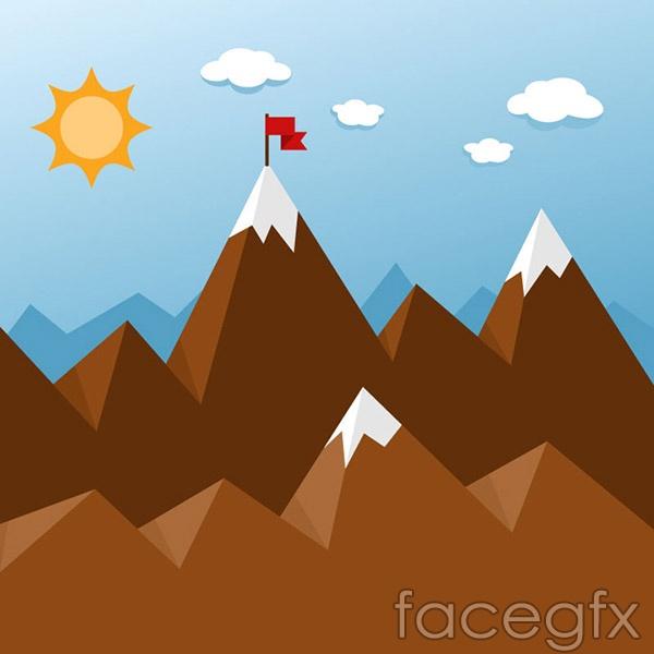 Flat mountain vector