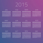 2015 purple calendar vector