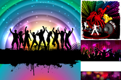 Fashion party people silhouette vector
