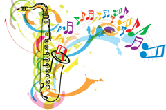Color saxophone and musical note background vector