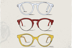 Stylish hand painted glasses frame vector