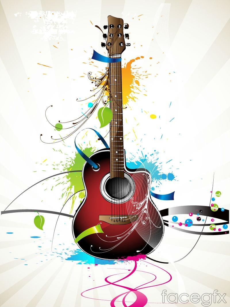 Current guitars splash-ink illustration vector