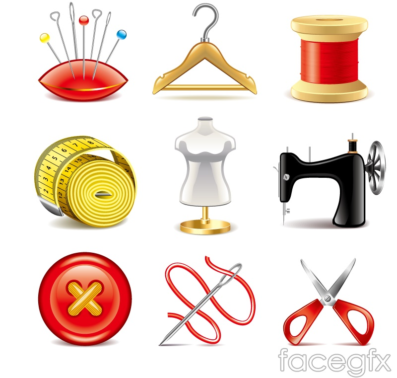 9 sewing elements icon vector