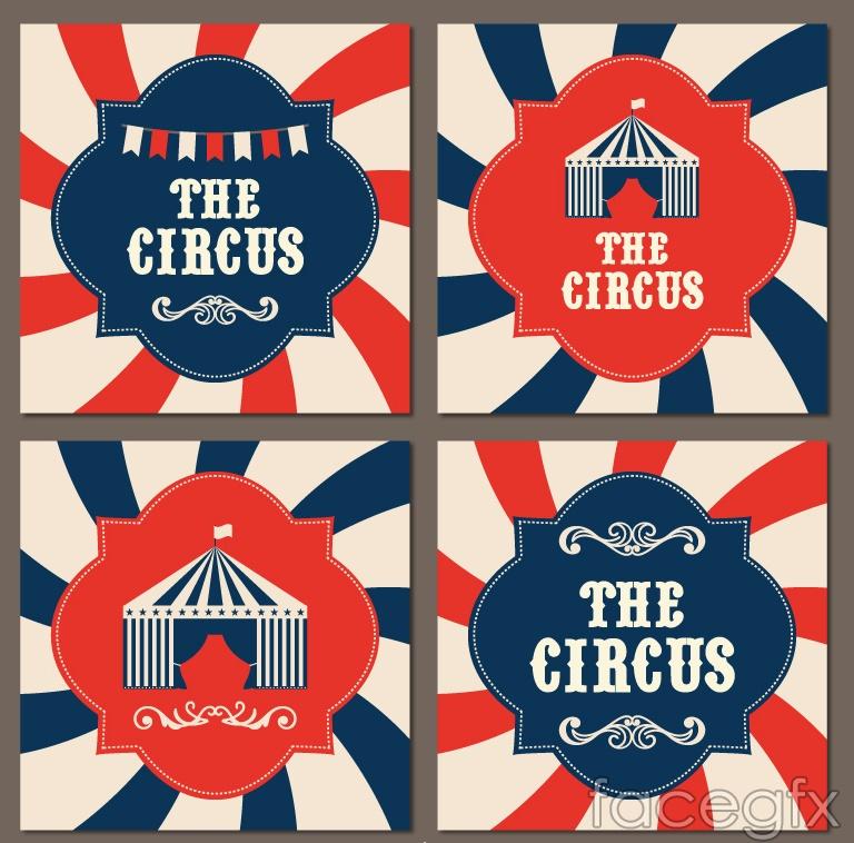 4 creative circus background vector