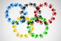 Color prints five-ring logo vector