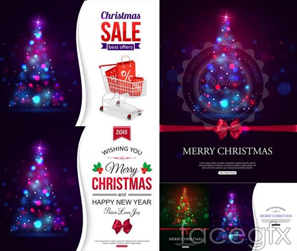 Light Christmas tree poster vector