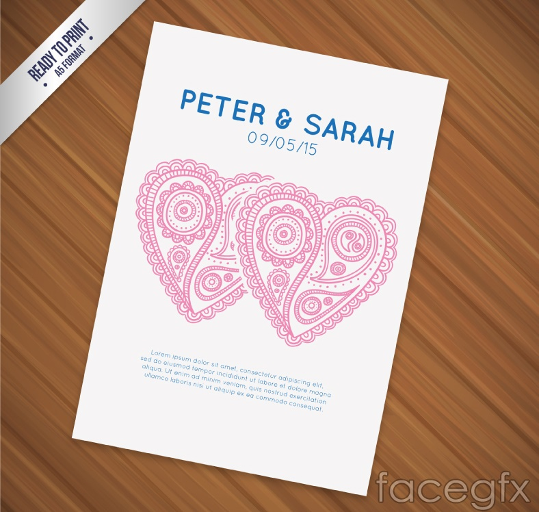 Patterned double heart wedding invitation card vector
