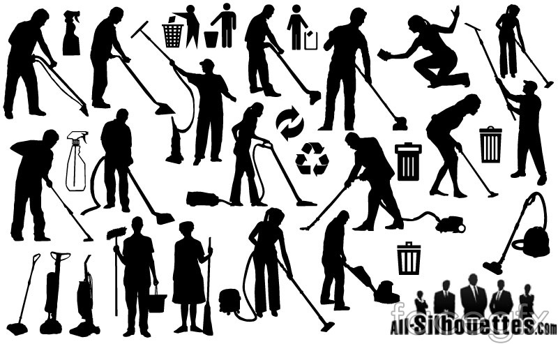 17 cleaning people silhouette vector