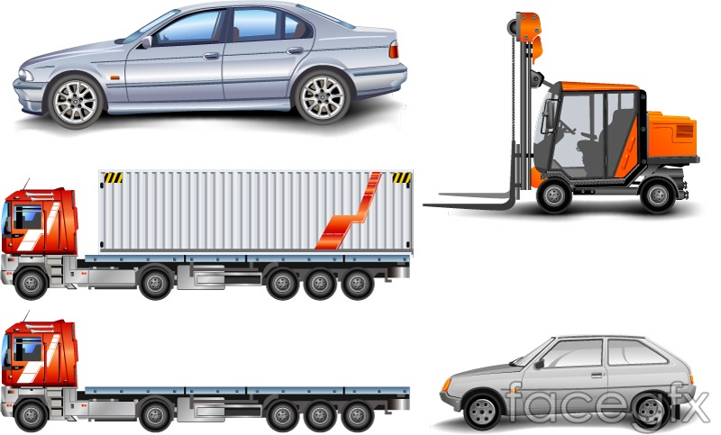 Forklift trucks and vehicle design vector