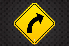 Exquisite turn right at sign vector