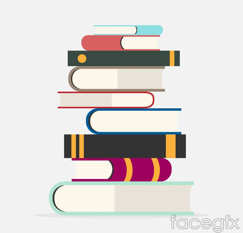 stacking books cartoon vector | free download