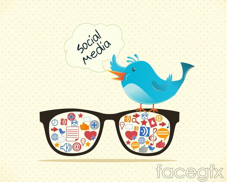 Blue Twitter bird vector illustration