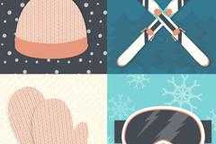 4 winter ski equipment vector
