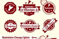 Exquisite badminton tag vector
