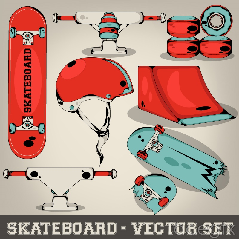 Beautiful skateboard design elements vector
