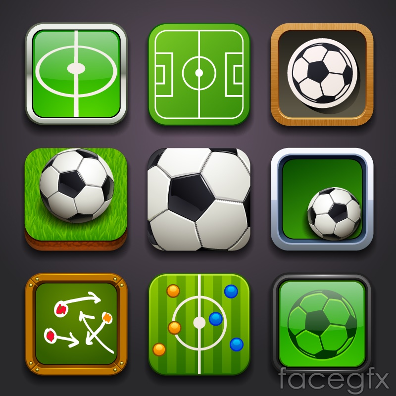 Exquisite square football icon vector