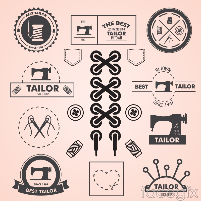 Retro sewing design elements vector