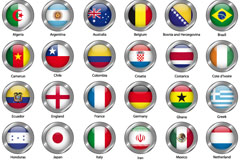 2014 World Cup round of 32 flag icon vector