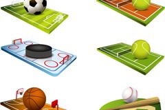 6 balls and golf course design vector