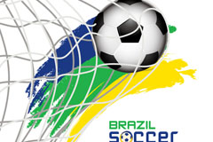 Beautifully in the net soccer background vector