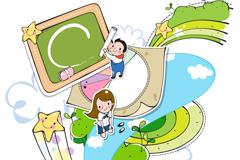 Children's campus life clip art vector