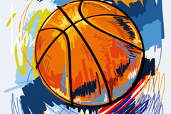 Painted basketball graffiti vector illustration
