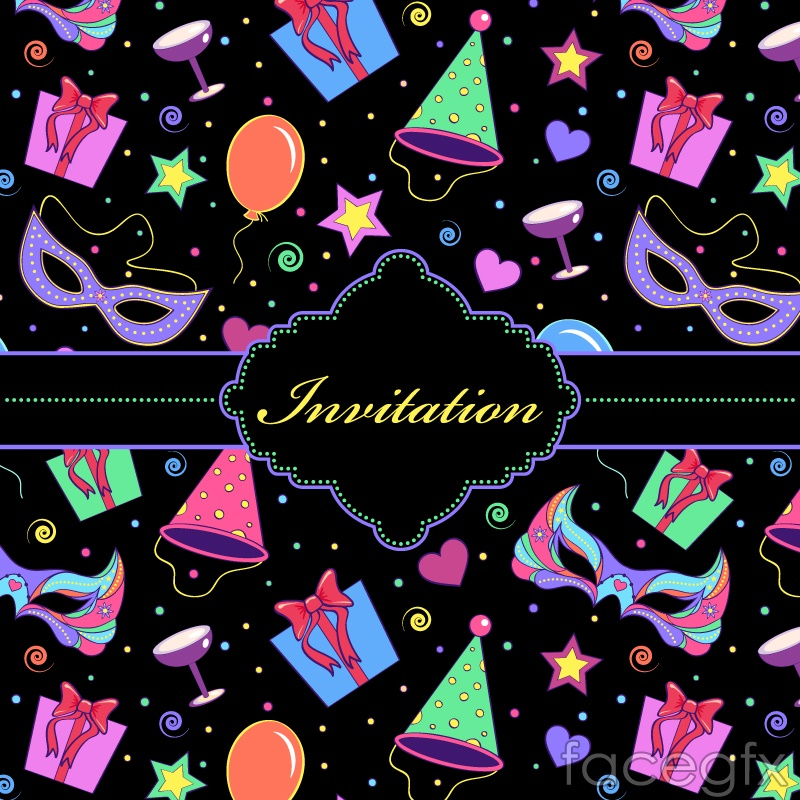 Party invitation card cover vector