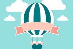 Fresh and hot-air balloon ribbons of clip art vector