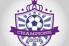 Purple football coat of arms tag vector