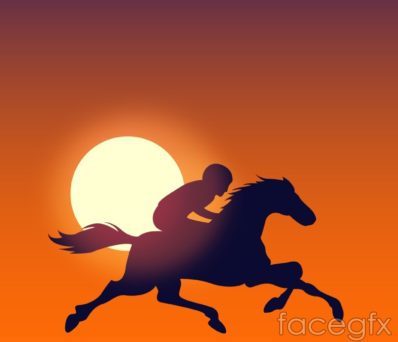 Sunset riders silhouette vector