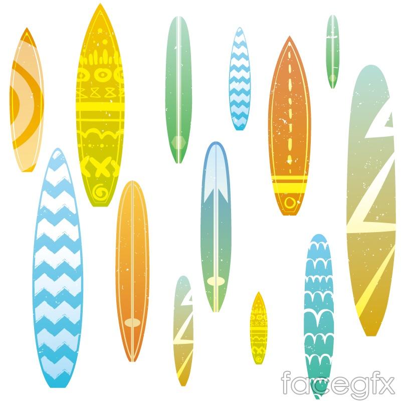 Fun surfboard design vector