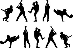 22 sports figures silhouette vector