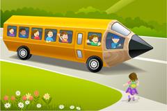 Pencil school bus cartoon vector illustration