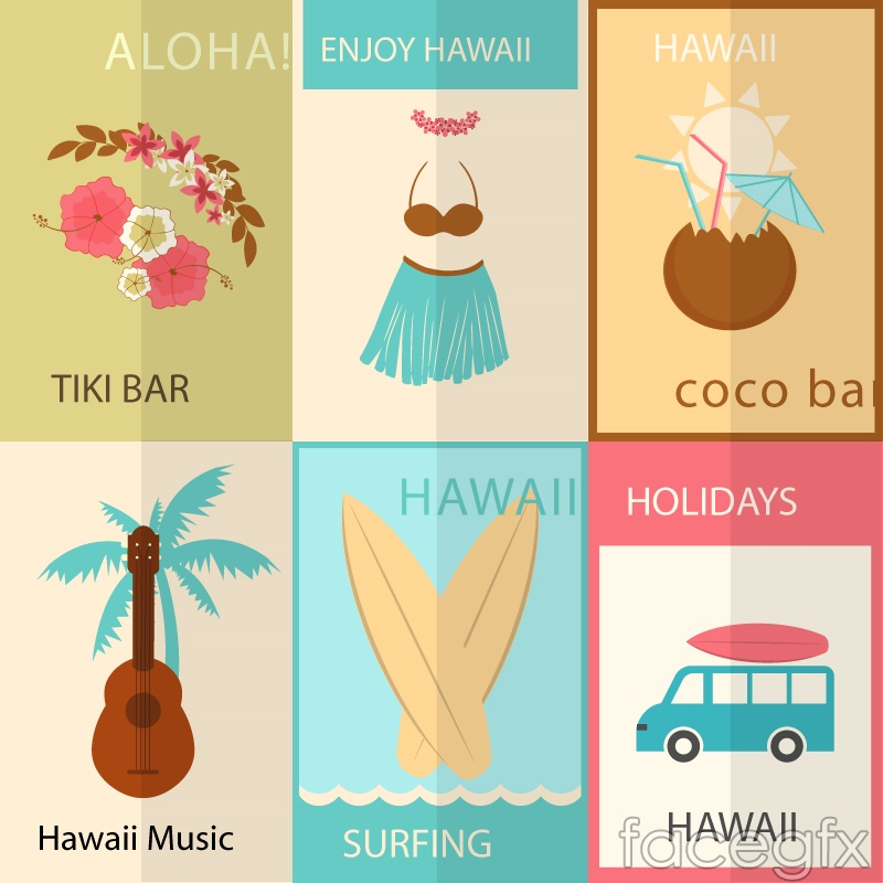 6 Hawaii elements against the background vector