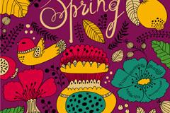 Cartoon spring floral background vector