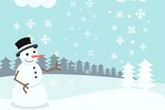 Snowy white Christmas snowman vector