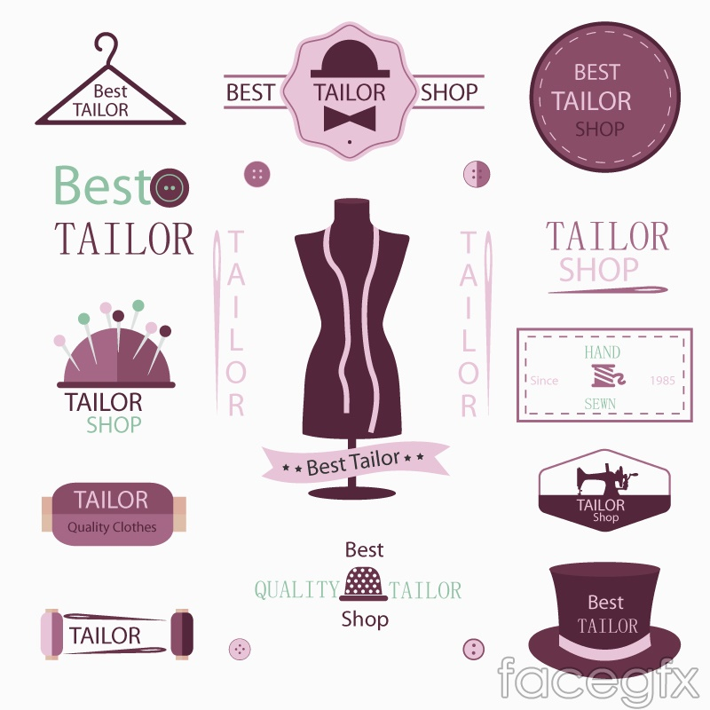 13 tailor's tag vector
