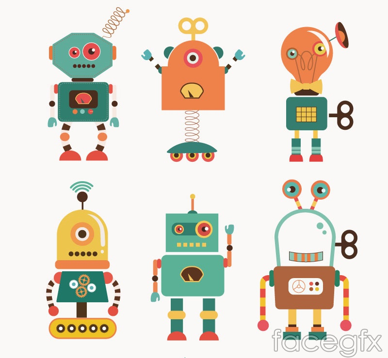 6 cartoon robot vector