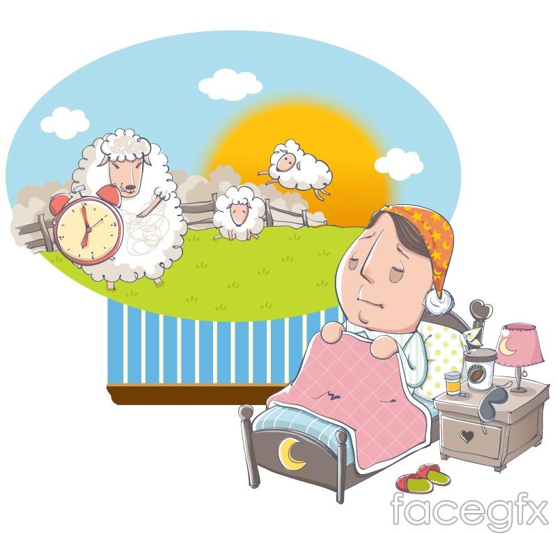 Insomnia men count sheep cartoon vector illustration