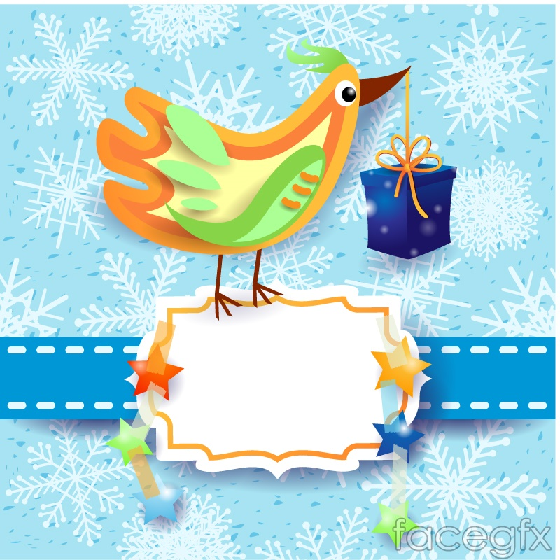 Cartoon-colored bird card vector