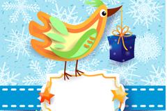 Cartoon-colored bird card vector