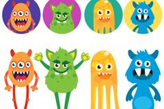 8 cartoon monsters and avatar design vector