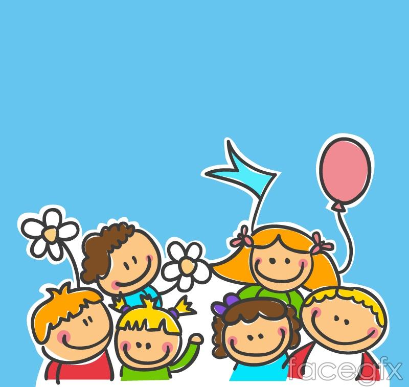 cartoon children playing design vector - Free Download Cartoon For Children