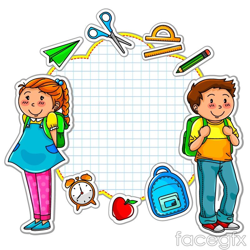 Cartoon School Stickers Vector Free Download