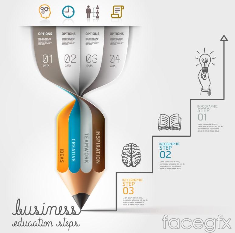 Creative pencil infographic vector