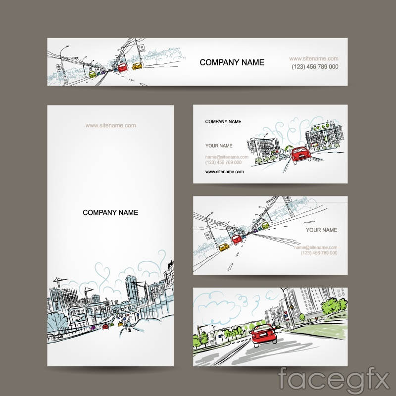 Hand-painted urban landscape design business cards vector | Free ...