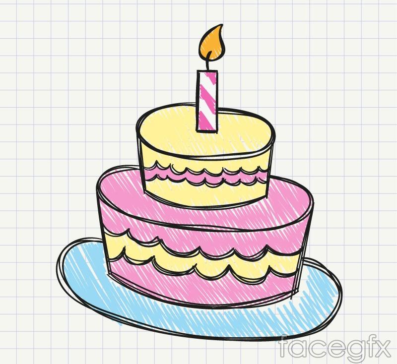 Painted birthday cake vector