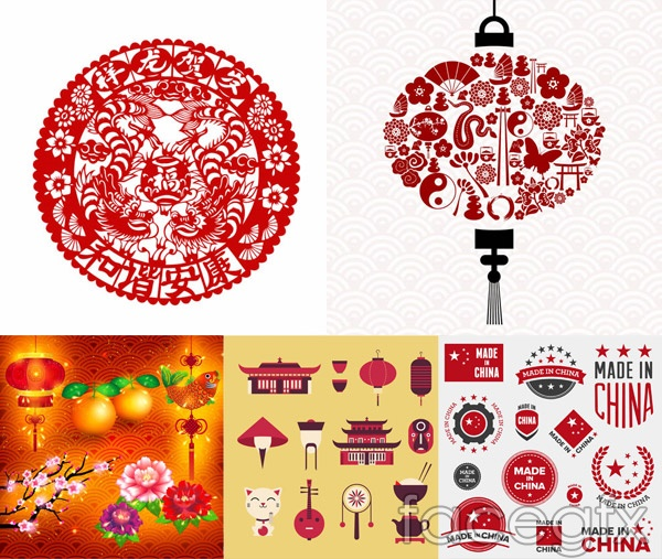 Paper-cut and red lanterns vector